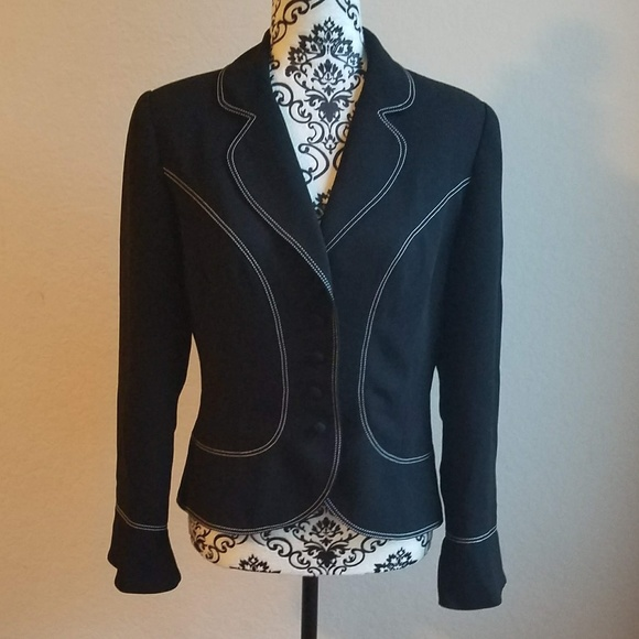 dd960386efbd1 Donna Morgan Jackets & Blazers - DONNA MORGAN Black White Blazer Button 8